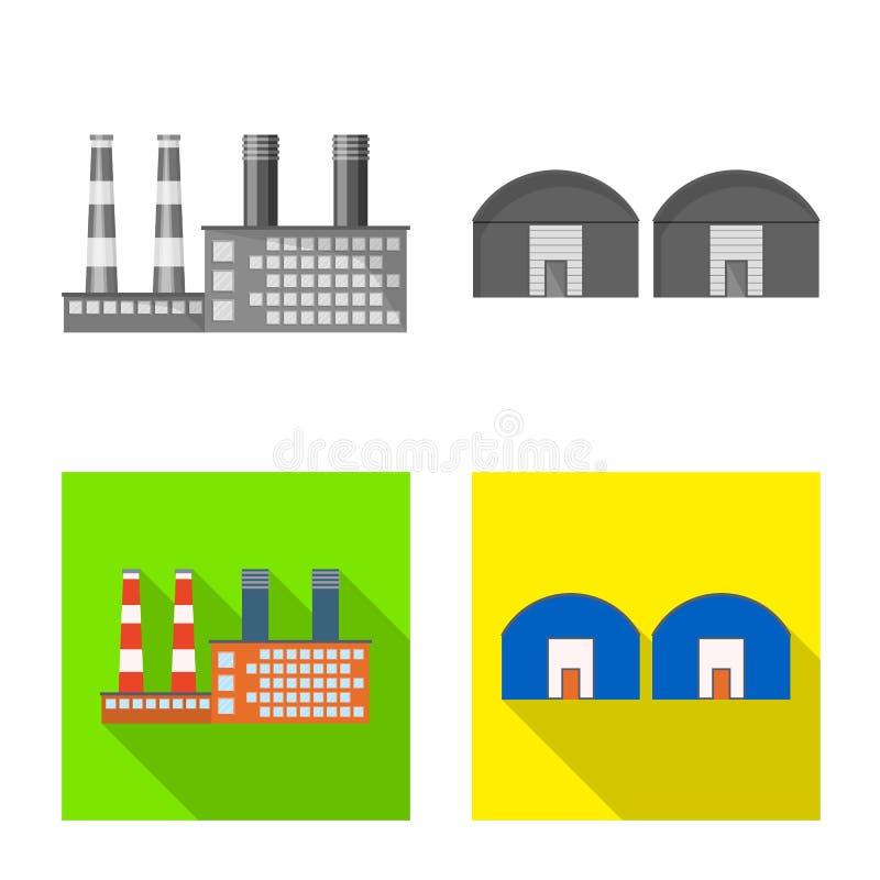 Objeto aislado del logotipo de la producci?n y de la estructura Fije del icono del vector de la producci?n y de la tecnolog?a par stock de ilustración