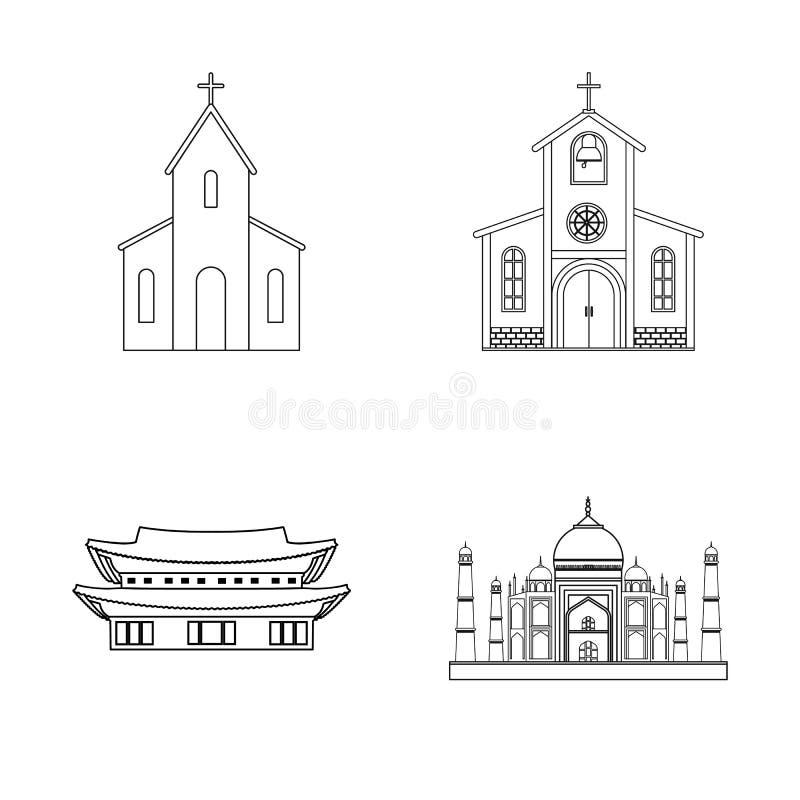Objeto aislado del logotipo de la religión y de la boda Fije de la religión y del símbolo común de la casa para la web stock de ilustración