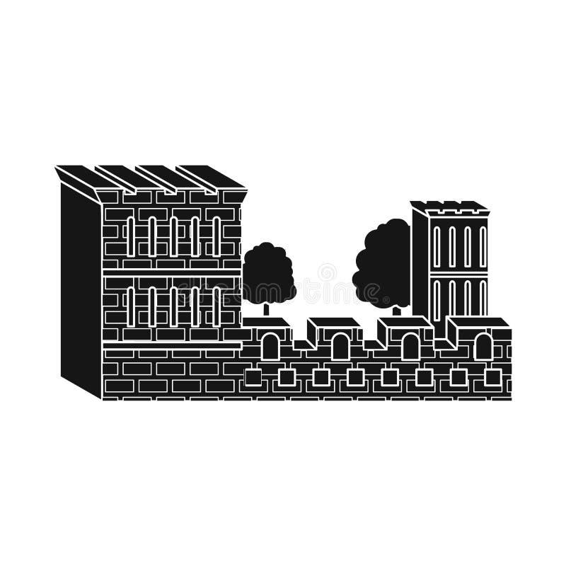 Objeto aislado del logotipo del edificio y del castillo Fije del icono del vector del edificio y del fuerte para la acción libre illustration