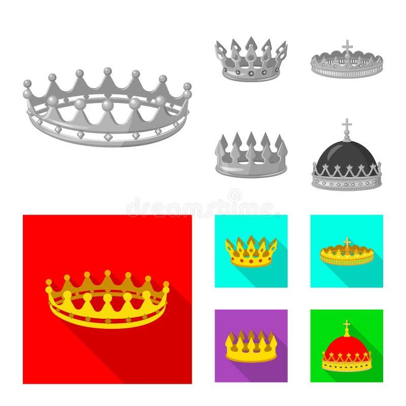 Objeto aislado del logotipo medieval y de la nobleza Colecci?n de ejemplo com?n medieval y de la monarqu?a del vector stock de ilustración