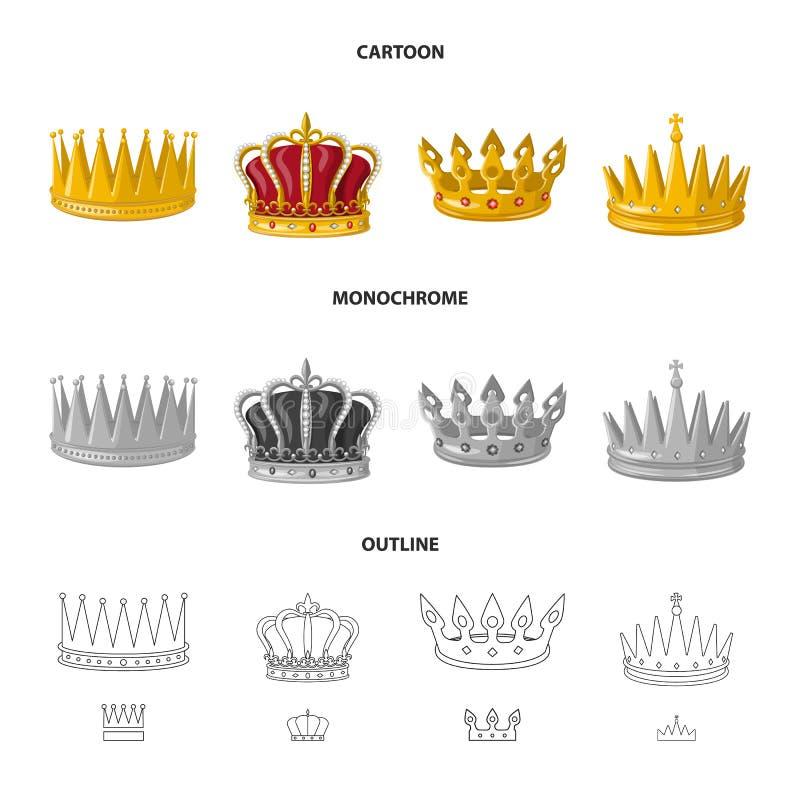 Objeto aislado del logotipo medieval y de la nobleza Colecci?n de s?mbolo com?n medieval y de la monarqu?a para la web ilustración del vector
