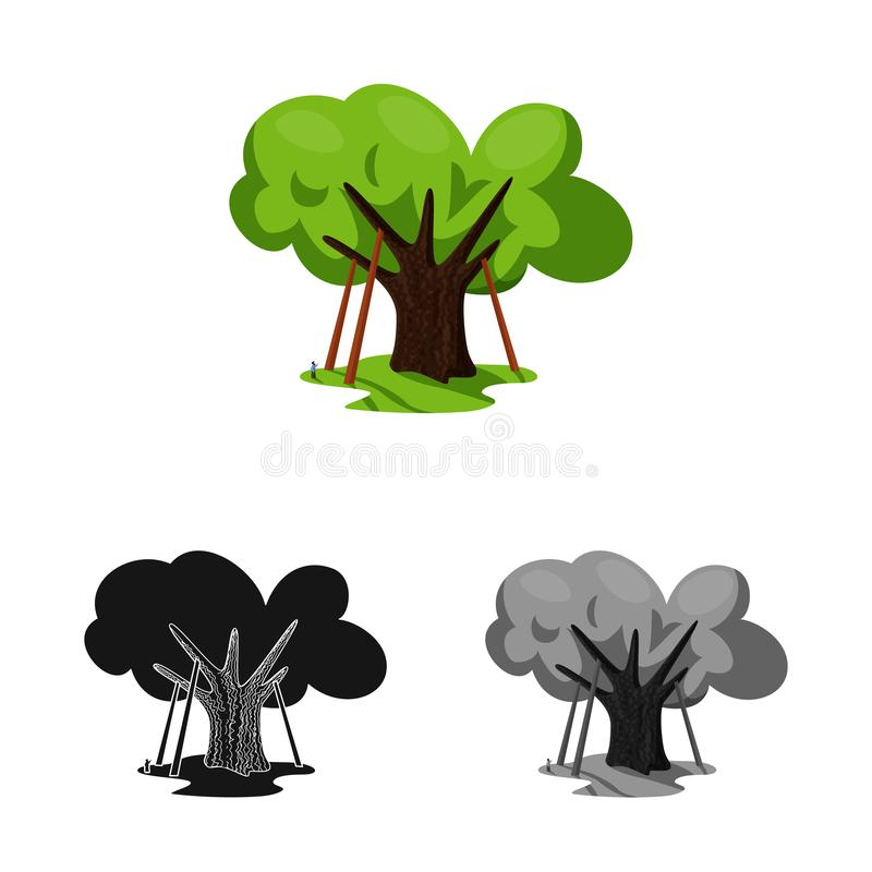 Objeto aislado del logotipo del roble y del árbol Fije del símbolo común del roble y del bosque para la web ilustración del vector