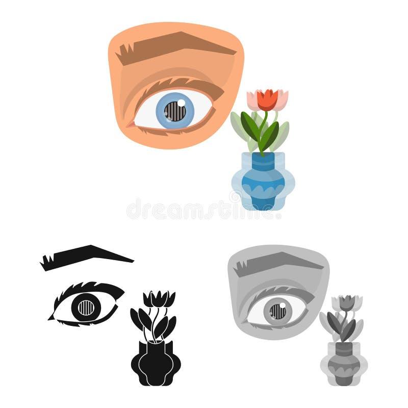 Objeto aislado del ojo y del s?mbolo pobre Fije de ojo y del s?mbolo com?n de la ceguera para la web ilustración del vector