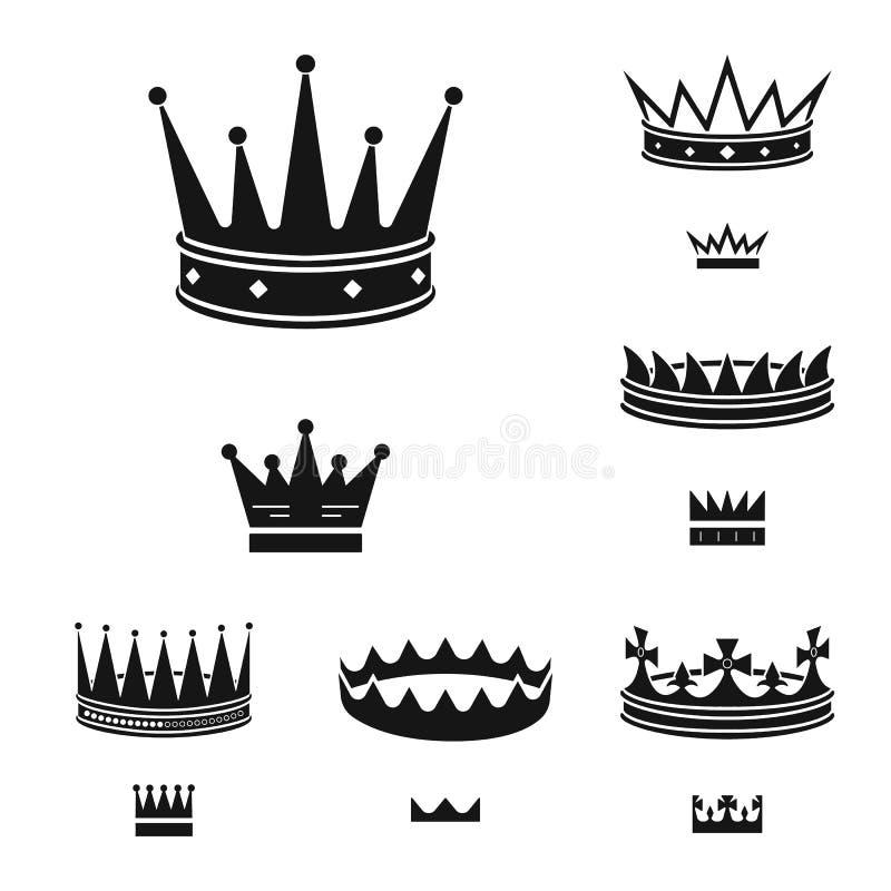 Objeto aislado del rey y del logotipo majestuoso Fije del ejemplo del vector de la acción del rey y de oro ilustración del vector