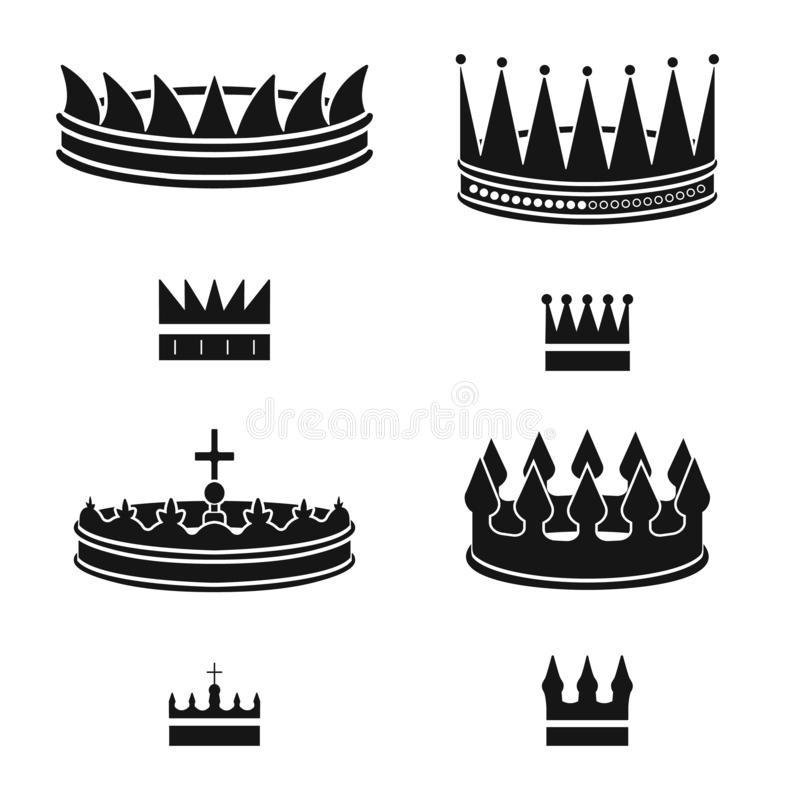 Objeto aislado del rey y del logotipo majestuoso Fije del icono del vector del rey y del oro para la acci?n ilustración del vector