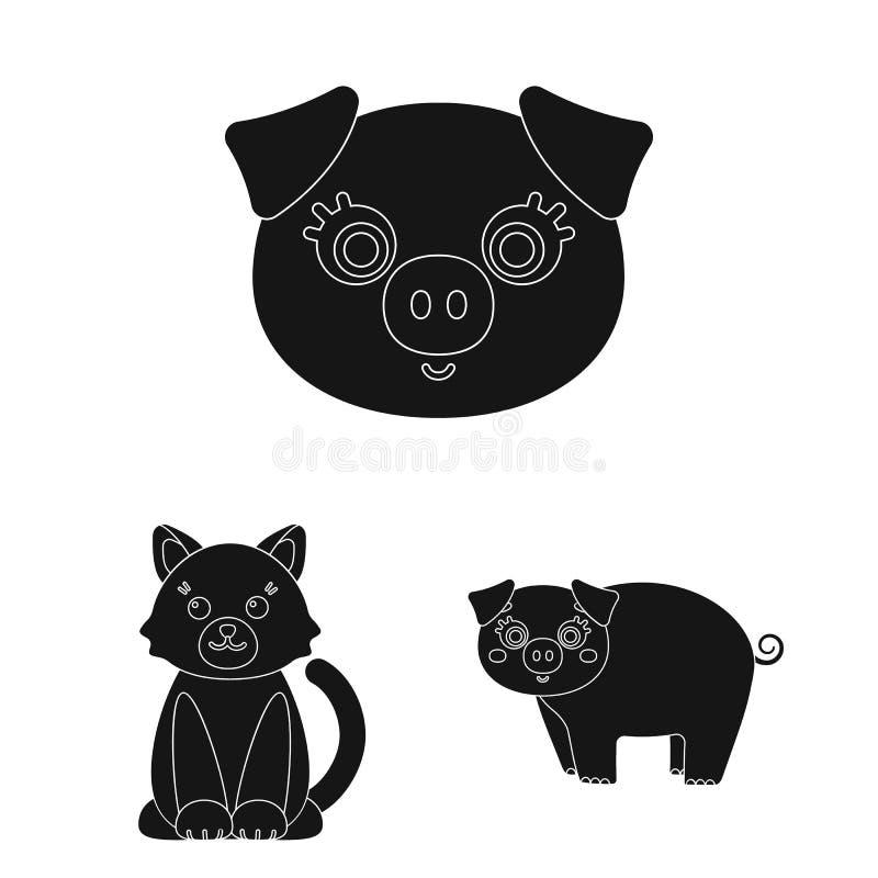 Objeto aislado del símbolo del animal y del hábitat Colección de ejemplo del vector de la acción del animal y de granja stock de ilustración