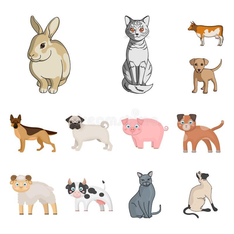 Objeto aislado del símbolo del animal y del hábitat Colección de icono del vector del animal y de la granja para la acción libre illustration