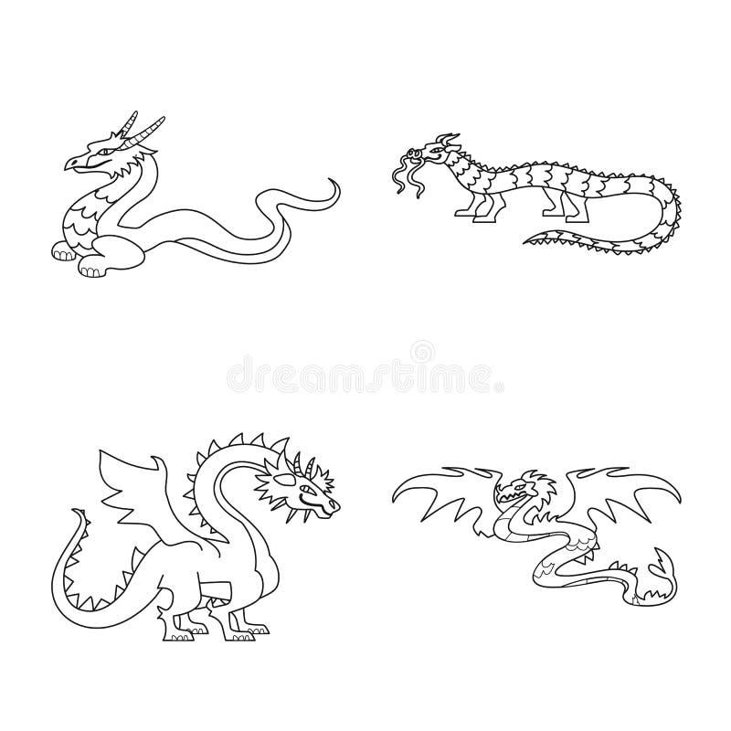 Objeto aislado del símbolo asiático y medieval Colección de símbolo común asiático y mítico para la web stock de ilustración
