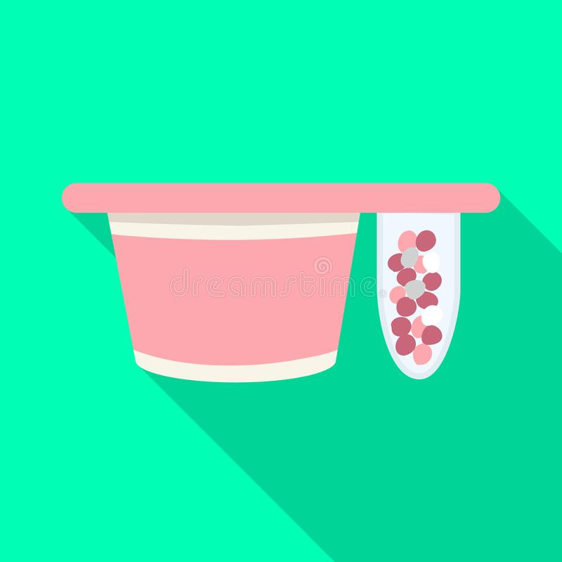 Objeto aislado del símbolo del embalaje y del yogur Colección de embalaje e icono curruscante del vector para la acción stock de ilustración
