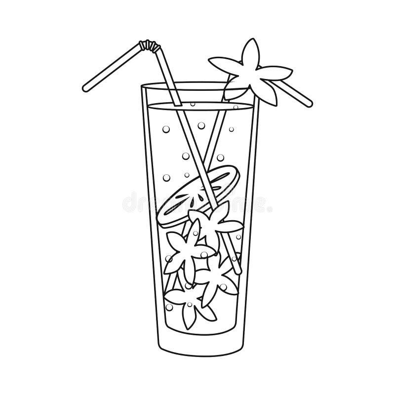 Objeto aislado del símbolo del limonada y de cristal Fije del símbolo común de la limonada y de la cal para la web ilustración del vector