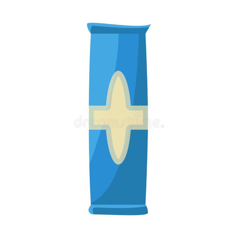 Objeto aislado del símbolo del paquete y del bocado Fije del icono del vector del paquete y del pan para la acción ilustración del vector