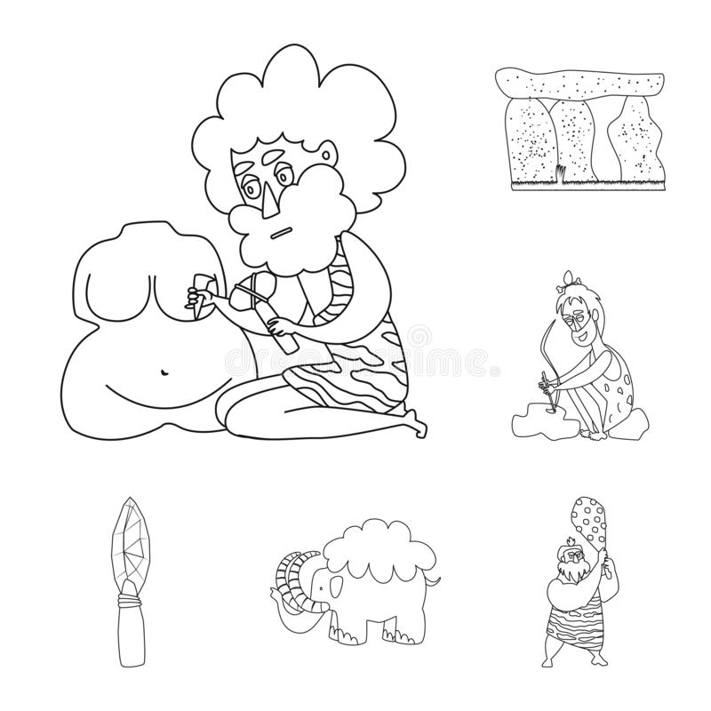 Objeto aislado del símbolo del primitivo y de la arqueología Fije del icono del vector del primitivo y de la historia para la acc libre illustration