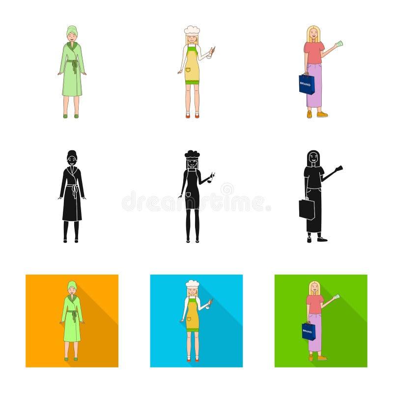 Objeto aislado del s?mbolo de la postura y del humor Fije de postura y del s?mbolo com?n femenino para la web ilustración del vector