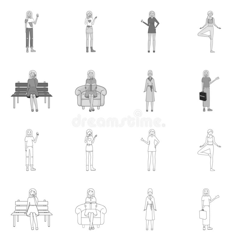 Objeto aislado del s?mbolo de la postura y del humor Fije de postura y del ejemplo com?n femenino del vector stock de ilustración