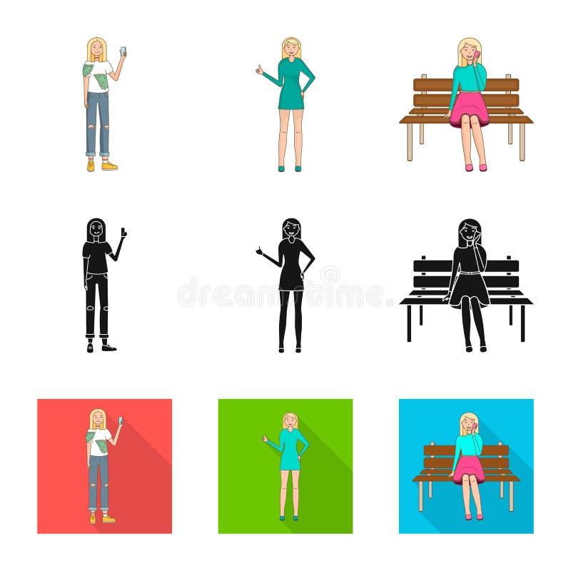 Objeto aislado del s?mbolo de la postura y del humor Fije de postura y del icono femenino del vector para la acci?n libre illustration