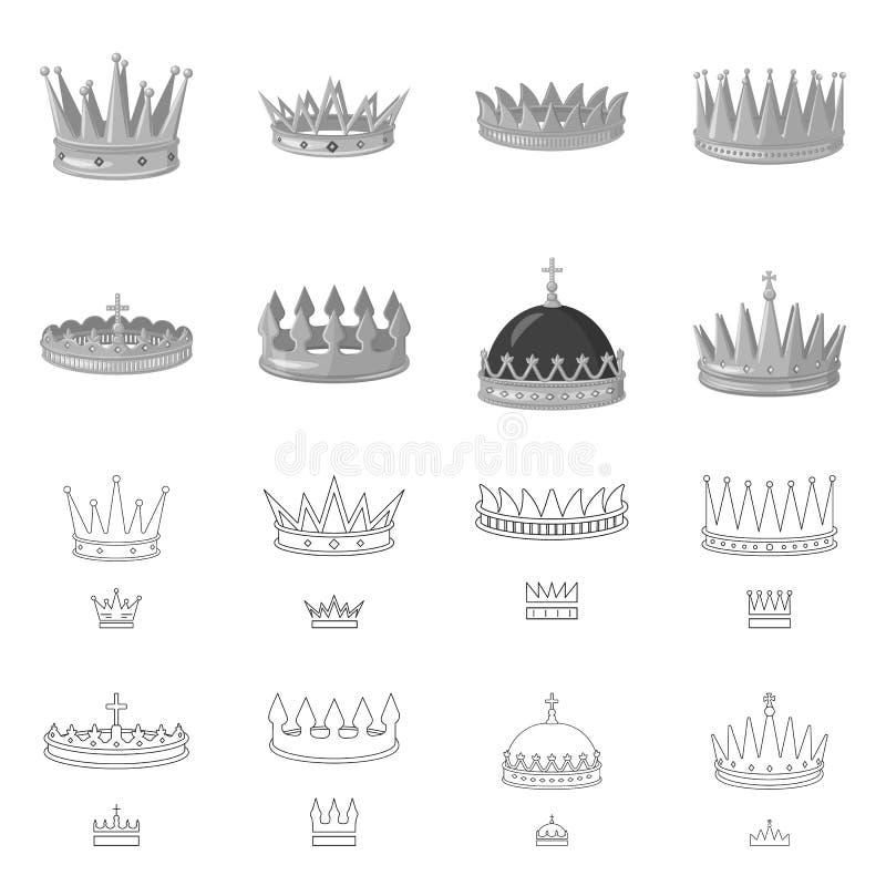 Objeto aislado del s?mbolo medieval y de la nobleza Colecci?n de s?mbolo com?n medieval y de la monarqu?a para la web stock de ilustración