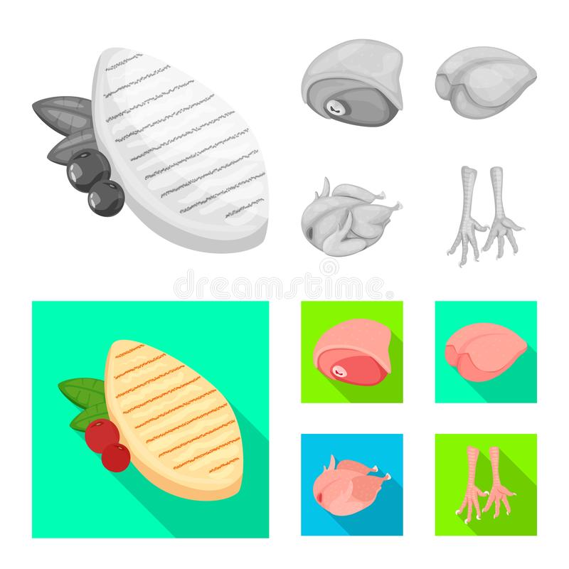 Objeto aislado del s?mbolo del producto y de las aves de corral Fije de producto y del s?mbolo com?n de la agricultura para la we stock de ilustración