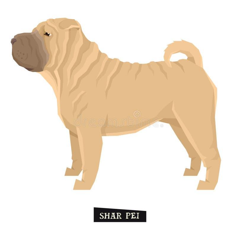 Objeto aislado estilo de Shar Pei Geometric de la colección del perro libre illustration