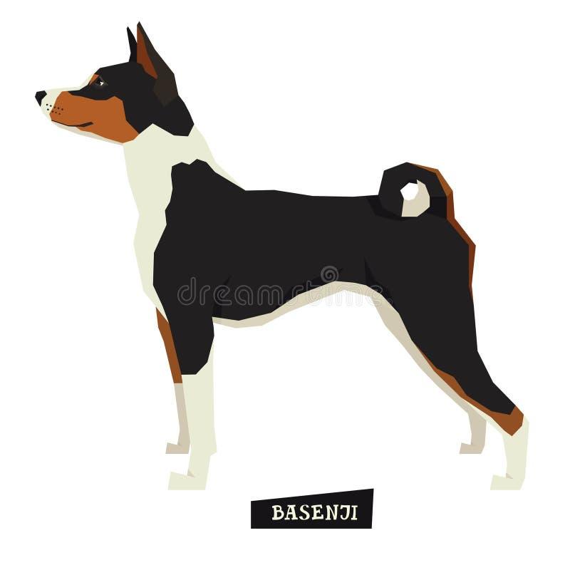 Objeto aislado estilo geométrico de Basenji de la colección del perro stock de ilustración