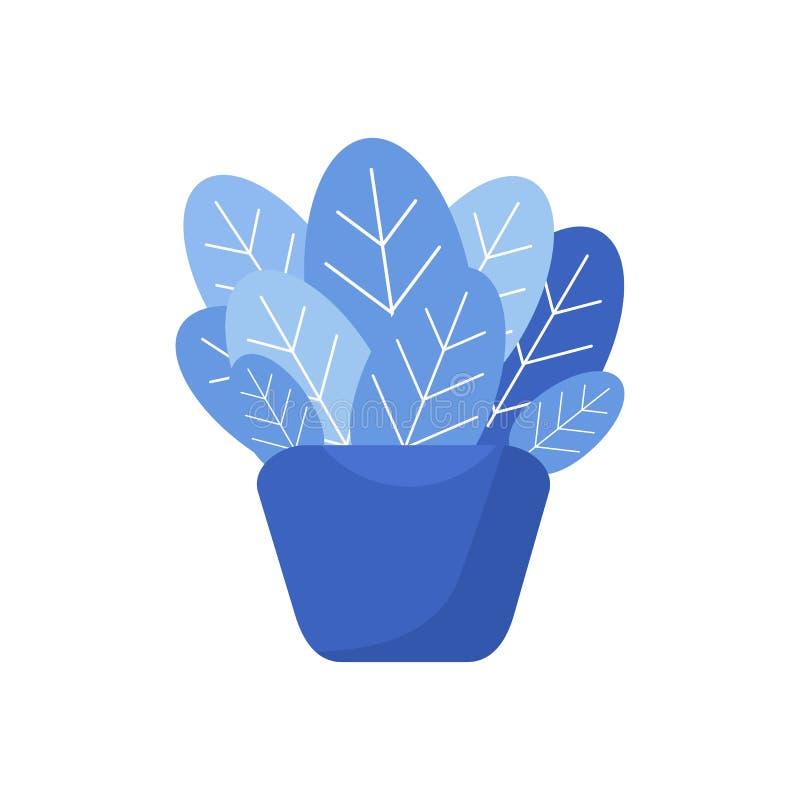 objeto azul da ilustração do vaso e da planta ilustração do vetor