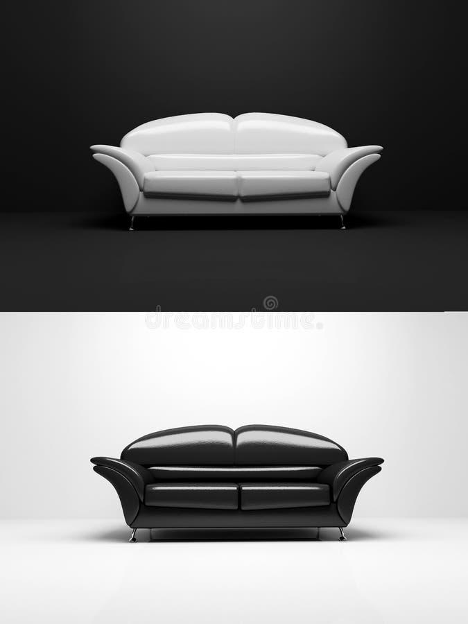 Objeto blanco y negro del monocromo del sofá ilustración del vector