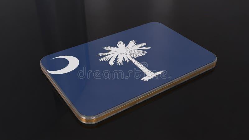 Objeto brillante de la bandera de Carolina del Sur 3D aislado en fondo negro ilustración del vector