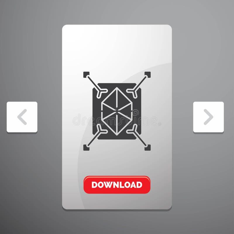 Objeto, creación de un prototipo, icono rápido, de la estructura, del Glyph 3d en diseño del resbalador de las paginaciones de la stock de ilustración