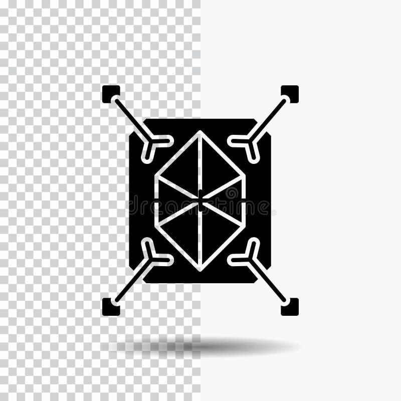 Objeto, creación de un prototipo, rápida, estructura, icono del Glyph 3d en fondo transparente Icono negro ilustración del vector