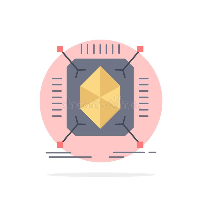 Objeto, creación de un prototipo, rápida, estructura, vector plano del icono del color 3d stock de ilustración