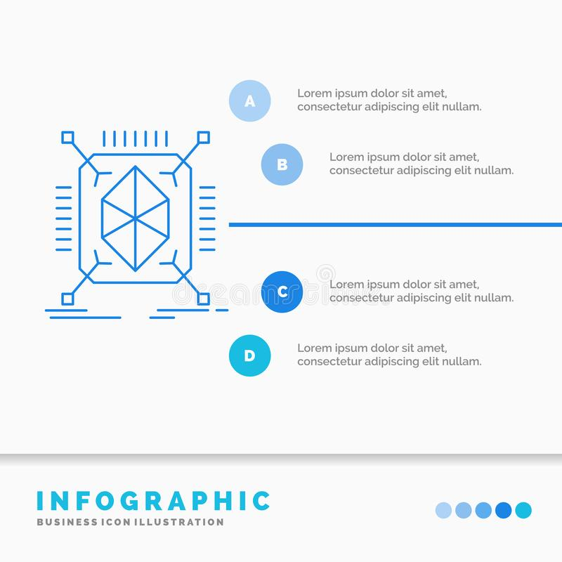 Objeto, creaci?n de un prototipo, r?pido, estructura, plantilla de 3d Infographics para la p?gina web y presentaci?n L?nea estilo stock de ilustración
