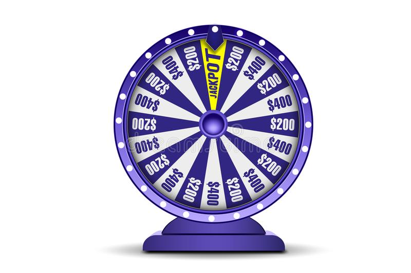 Objeto da roda 3d da fortuna isolado no fundo branco Roda da sorte Bandeira em linha do casino Conceito de jogo ilustração royalty free
