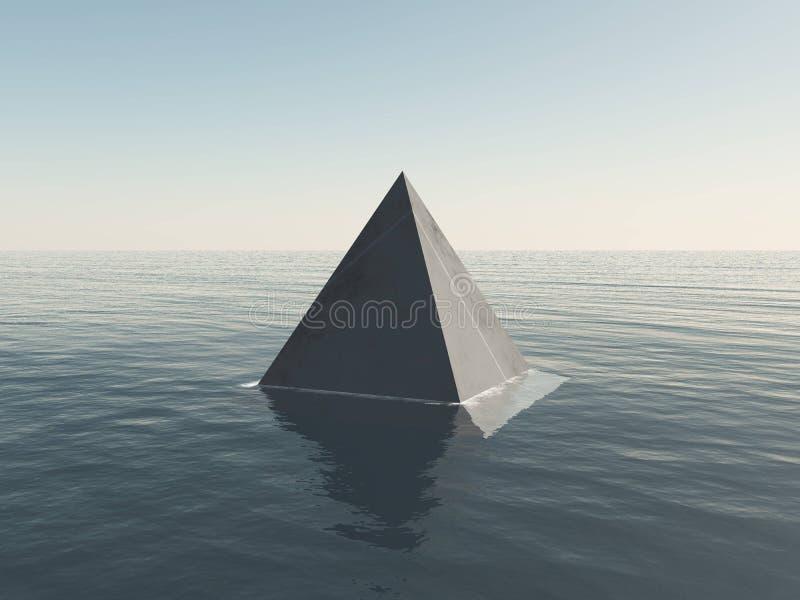 Objeto de la pirámide en el mar profundo libre illustration