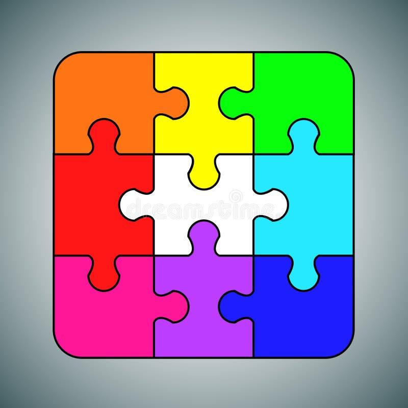 Objeto de los multicolors del concepto del fondo del rompecabezas ilustración del vector