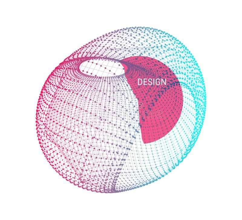 Objeto de Wireframe com linhas e pontos Estrutura abstrata da conexão 3D Forma geométrica para o projeto Entrelace o elemento, em ilustração stock