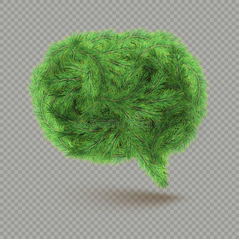 Objeto del diseño de la Navidad y del Año Nuevo con el espacio de la copia - burbuja del discurso hecha del árbol de abeto para l ilustración del vector