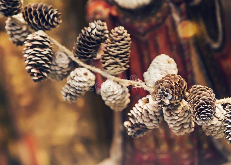 Objeto del pino Cones Decoración de la Navidad Año Nuevo imagen de archivo libre de regalías