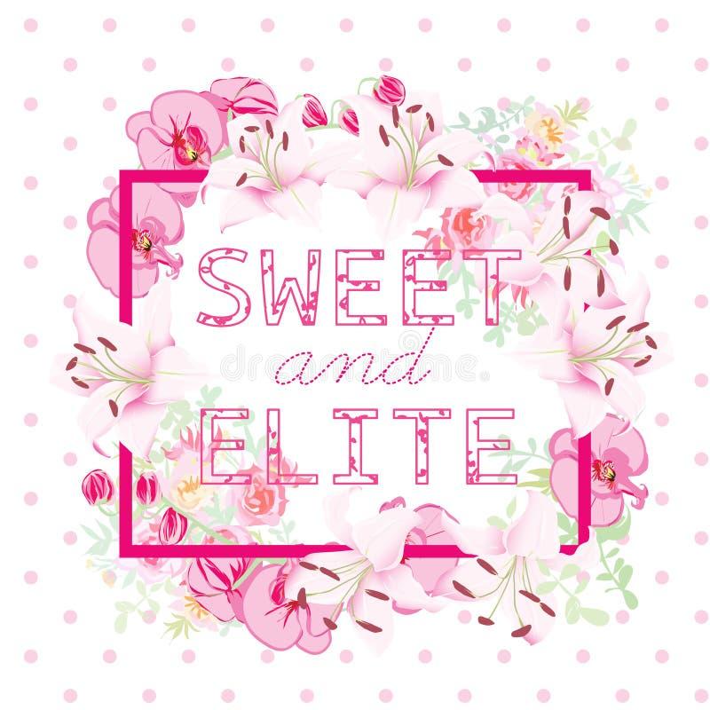 Objeto del vector de las orquídeas, de las rosas y de los lirios Lema del dulce y de la élite libre illustration