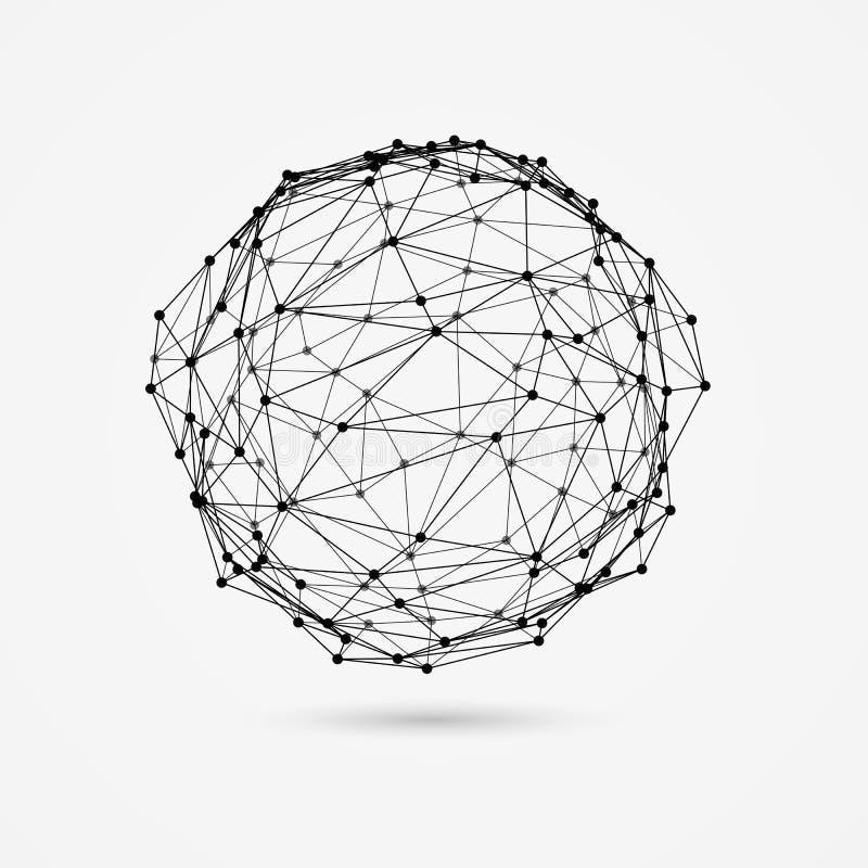 objeto do wireframe 3d A esfera deformada consiste em triângulos e em pontos ilustração do vetor