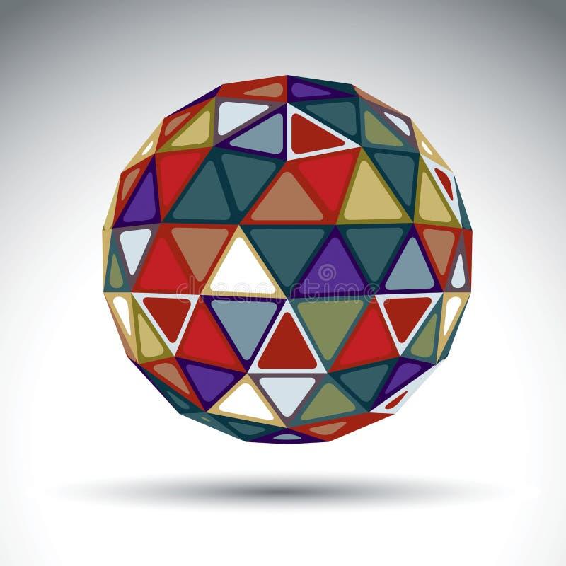 Objeto esférico abstrato brilhante com efeito do caleidoscópio, dimen ilustração stock