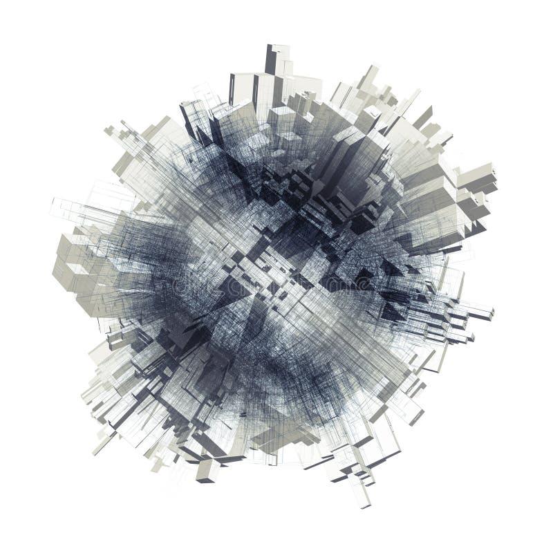 objeto esférico 3d con forma sacada caótica libre illustration