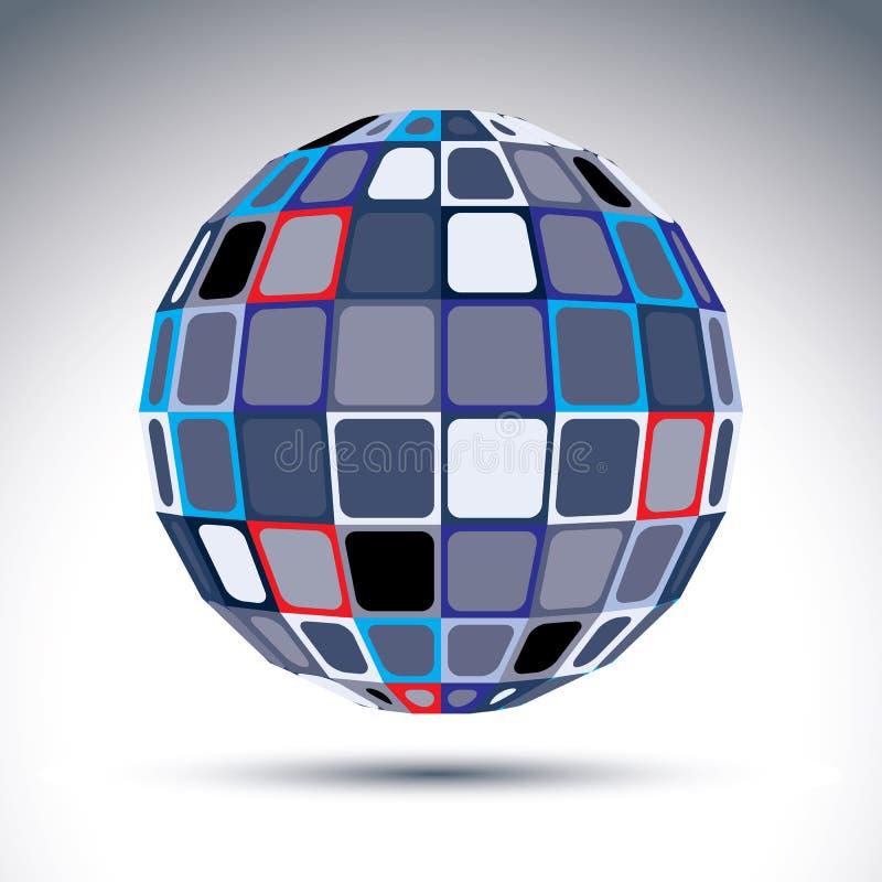 Objeto esférico urbano cinzento do fractal, bola do espelho do metal 3d Kalei ilustração royalty free