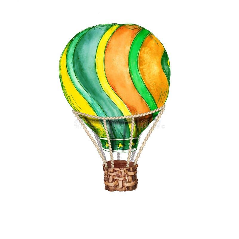 Objeto exhausto de la mano de la acuarela del circo del vintage de los globos del aire caliente aislado en el ejemplo blanco del  libre illustration