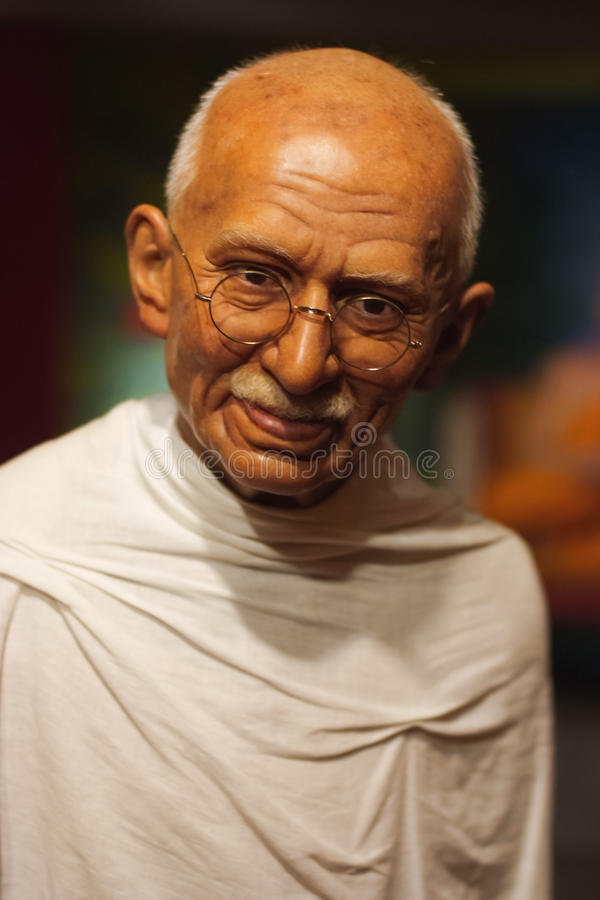 Objeto expuesto de la figura de cera de Mahatma Gandhi fotografía de archivo libre de regalías