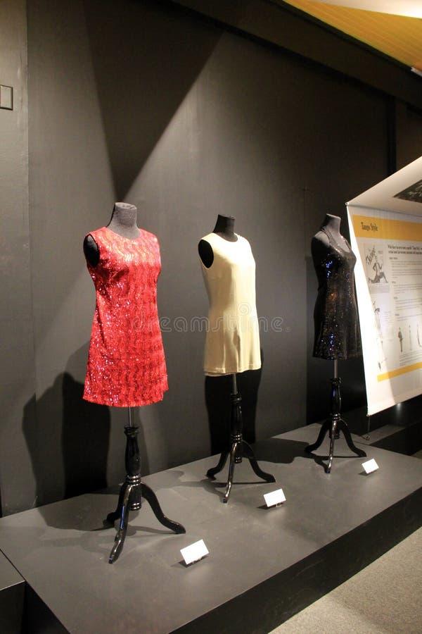 Objeto expuesto de los vestidos llevados cuando uno bailaría el tango, el Museo Nacional de la danza y el salón de la fama, Sarat fotografía de archivo libre de regalías
