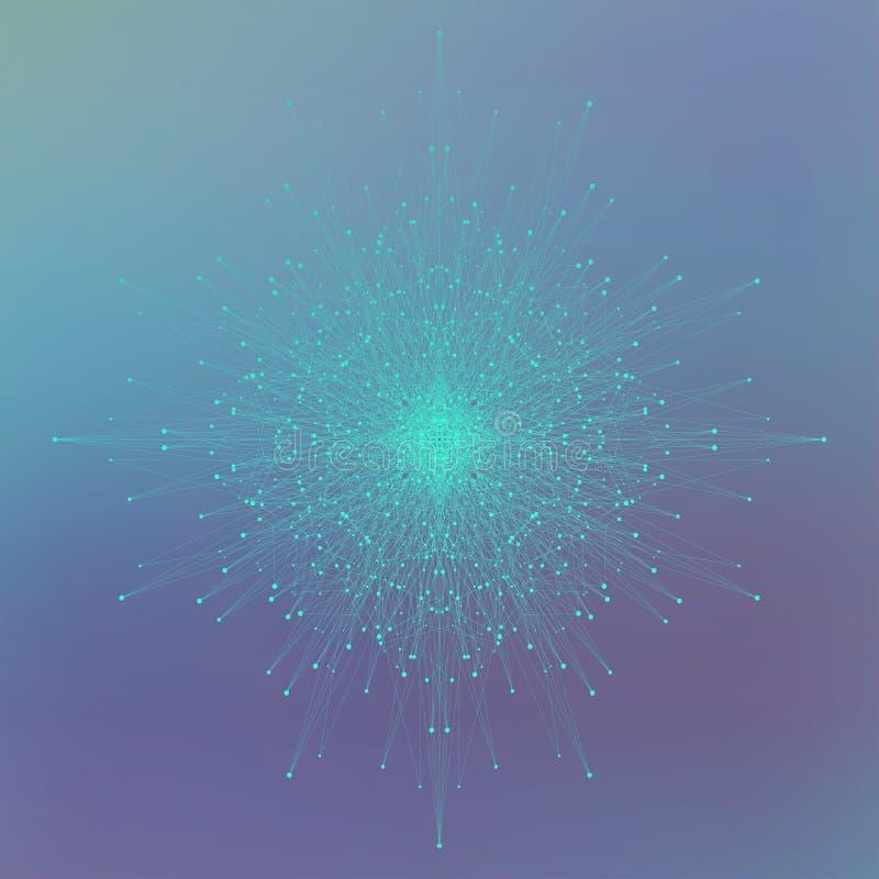 Objeto futurista de la tecnología para su diseño Líneas conectadas con los puntos Ilustración del vector ilustración del vector
