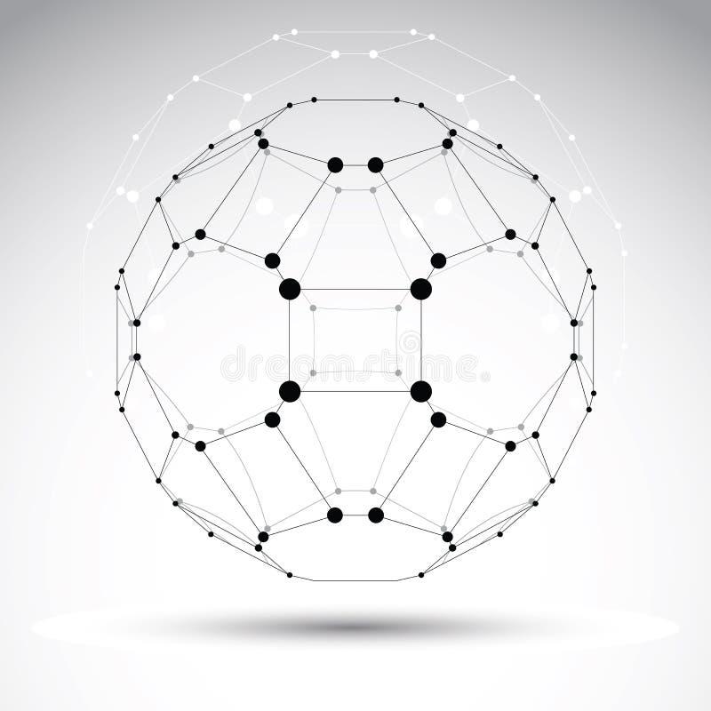 Objeto geométrico abstrato da malha do vetor 3D ilustração stock