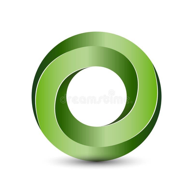 Objeto imposible del círculo 3D para la plantilla del logotipo stock de ilustración