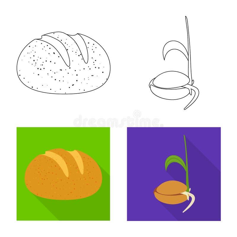 Objeto isolado da agricultura e do s?mbolo do cultivo Ajuste da agricultura e da ilustra??o do vetor do estoque da planta ilustração stock