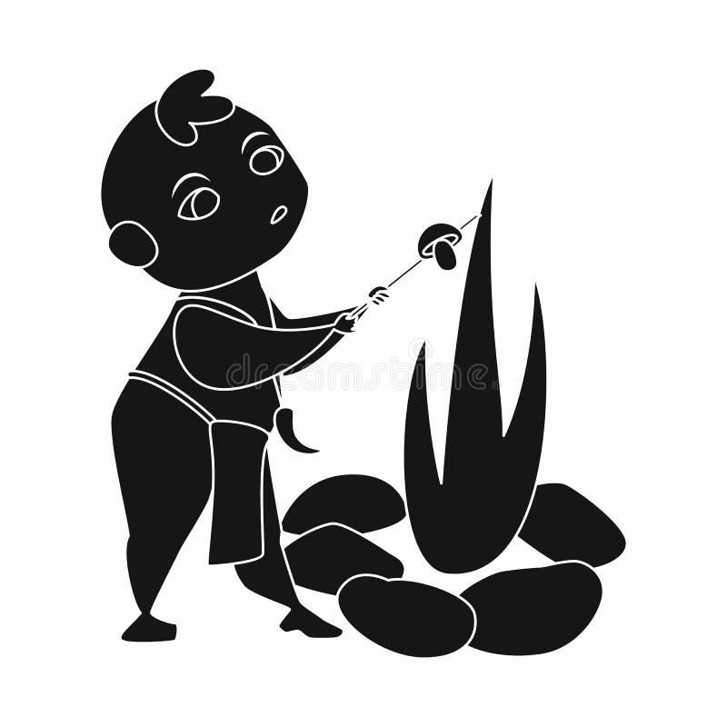 Objeto isolado da criança e do ícone pré-histórico Ajuste do ícone do vetor da criança e das pedras para o estoque ilustração royalty free
