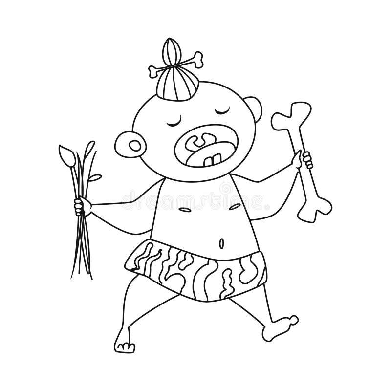 Objeto isolado da criança e do símbolo pré-histórico Ajuste da criança e da ilustração conservada em estoque doce do vetor ilustração stock